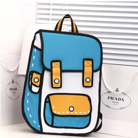 Hot Collections Quadratic Element Anime Bag 3D Solid Kawaii Cartoon Backpack Boys And Girls Canvas Fashion