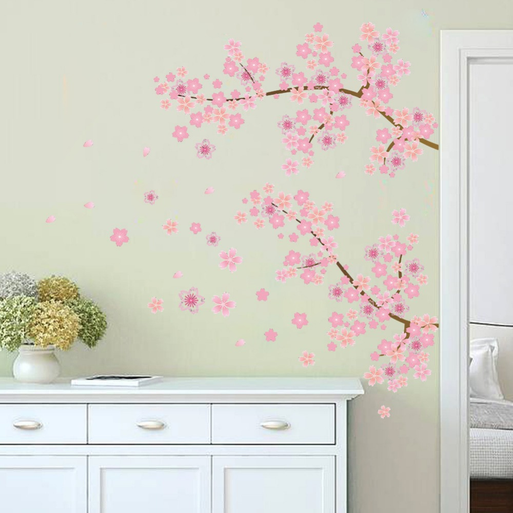 Diy garden wall art - Pink Cherry Blossoms Tree Romantic Garden Diy Home Decal Wall Sticker Girls Bedroom Wall Art