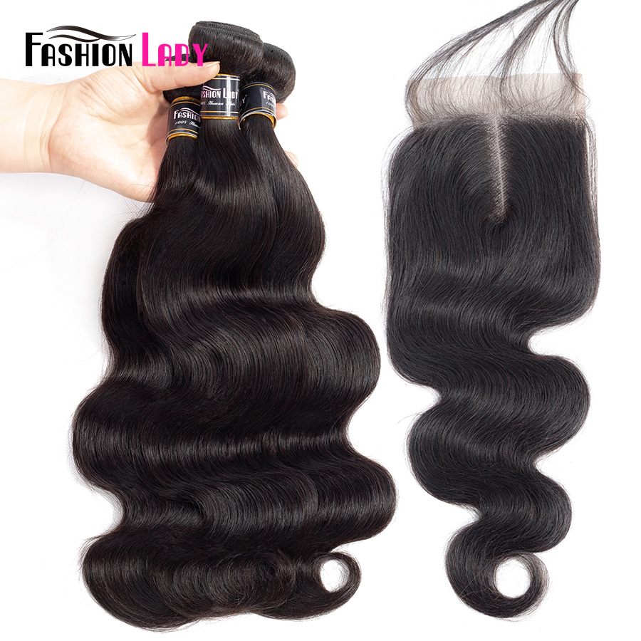 Fashion Lady Pre colored Brazilian Human Hair Bundles With Closure 1b BodyWave Bundles 3 Pcs with
