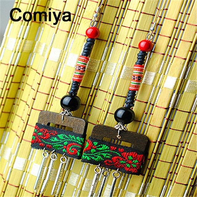Comiya вышитые пояса ткань этническая серьги деревянный личность серебристого металла мотаться серьги brincos vintage longos