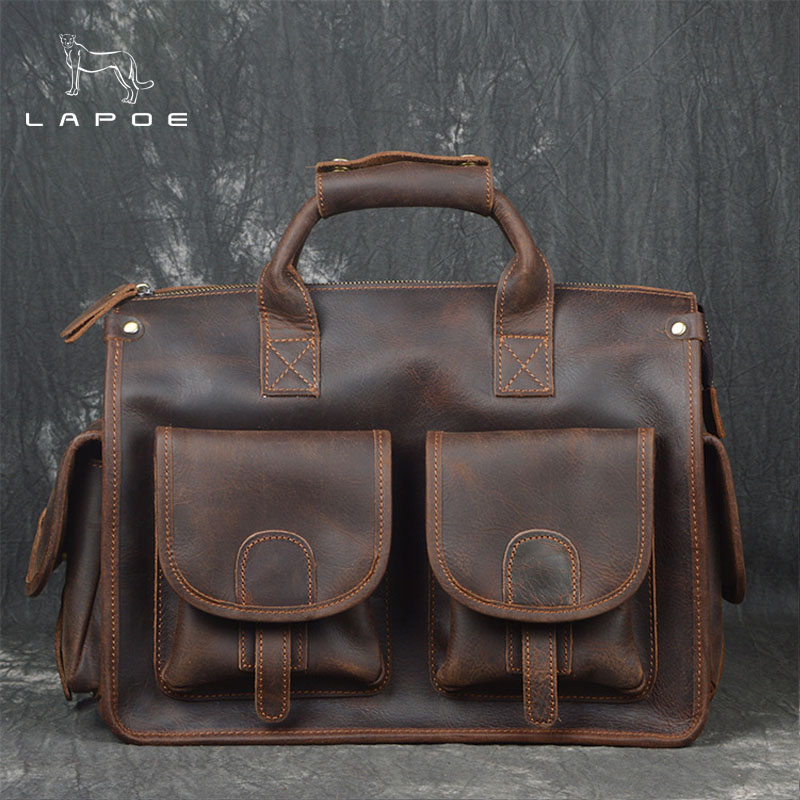 LAPOE Luxury Vintage Natural Genuine Leather Mens Travel Bags Retro Cowskin Handbags Short Casual Business Trip Travel Bag