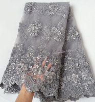 Grey exclusive Top African tulle lace french net lace fabric for weeding birthday big occasions 5 yards per piece 2207