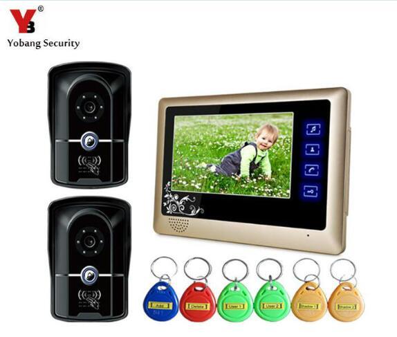 Yobang Security Video Doorbell Camera With RFID Keyfobs Wired Video Intercom Door Phone Door Monitor System 2 Outdoor Cameras