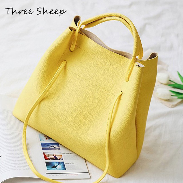 Large Causal Tote Yellow Hand Bag For Woman Bucket Bags Handbags Clutch Women 2017 Shoulder
