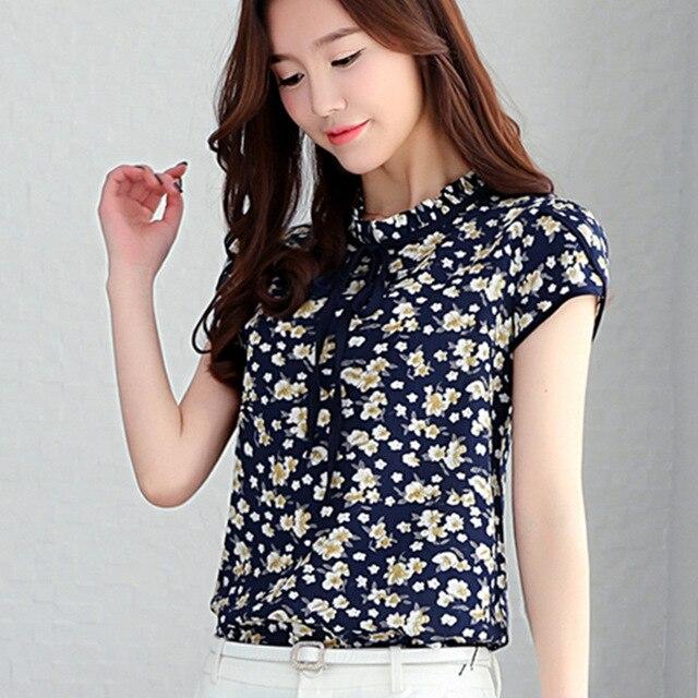 0d5250228c2 Mulheres Verão Encabeça Chiffon Blusas E Camisas Das Senhoras Manga Curta  Floral Impressão Blusa Feminina Blusas