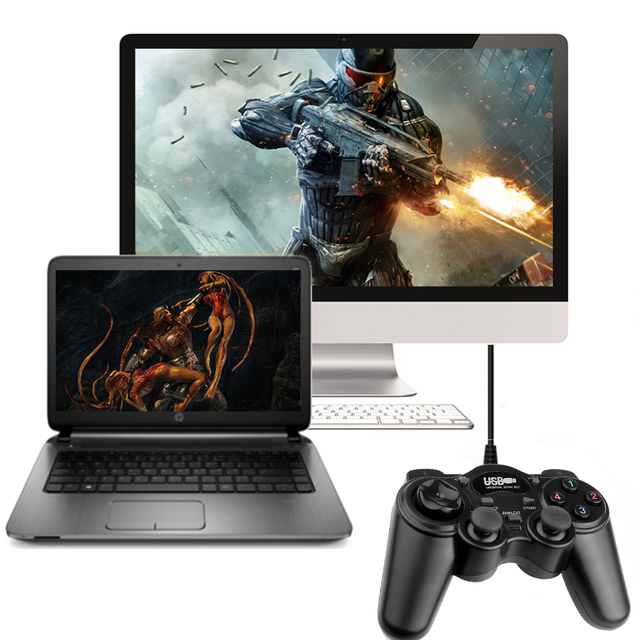 Wired Gamepad USB Game Controller Gaming Joypad Joystick Control for PC Computer Laptop Win7/8/10/XP/Vista Black Game Console