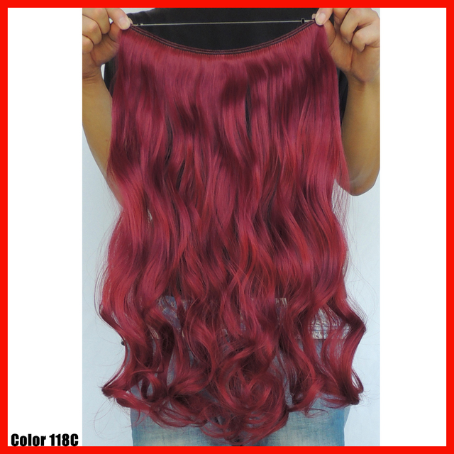 Cabelo Sintetico Halo Hair Extensions 20 Inch Curly Wavy Flip In
