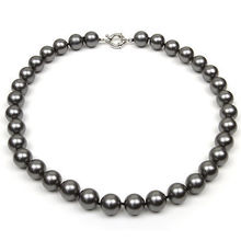 18 Inch Round Black Shell Pearl Necklace with Large 12mm Pearls
