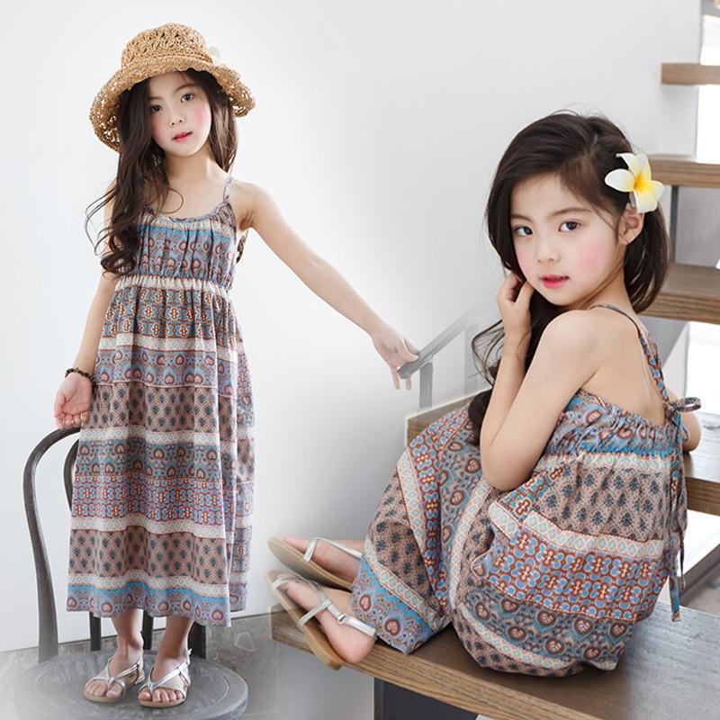 holiday beach 2018 summer girl dresses children maxi long summer girls clothes sleeveless print kids dress girls clothing