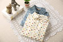 New 2017 Women spring auturn 100% Cotton blouse polka dot casual Lapel Shirt Colorful Long Sleeve shirts Ladies Tops Fashion