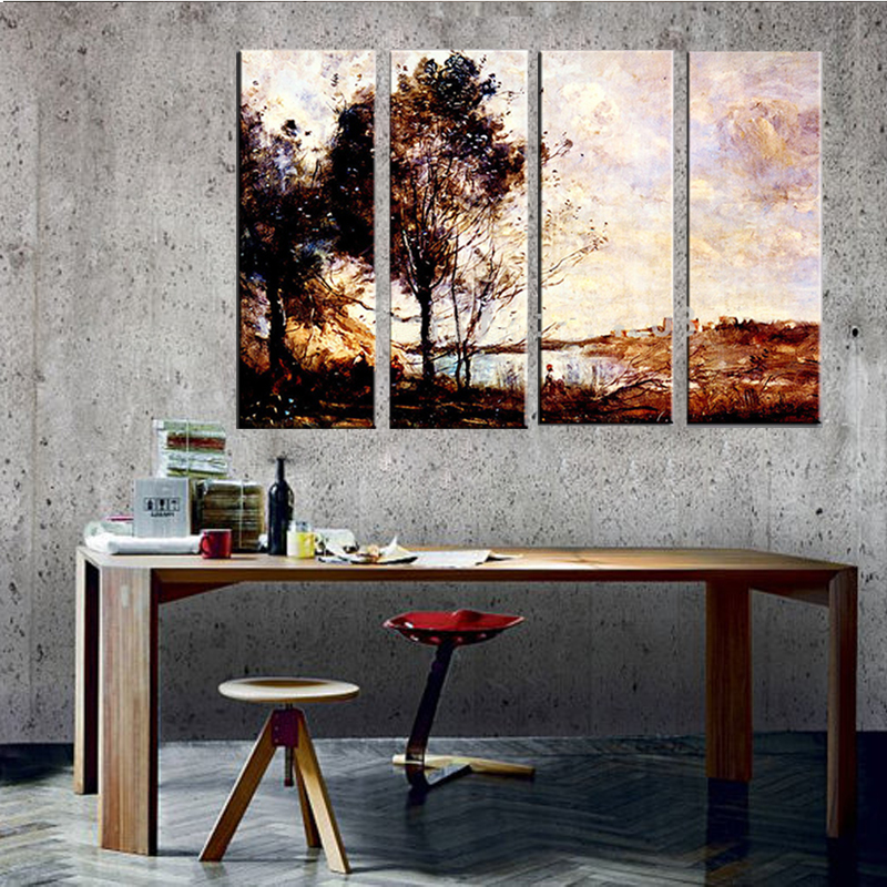 4 Piece Art Set Aesthetic Landscape Handmade Hotel Dining Room Decor Wall Work Oil Painting In Calligraphy From Home Garden On