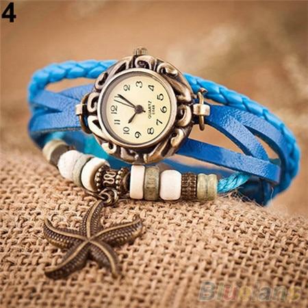 Lovely Casual Women Watches Vintage Faux Leather Starfish Decoration Bracelet Watch Ladies Quartz Wristwatch 6UHK