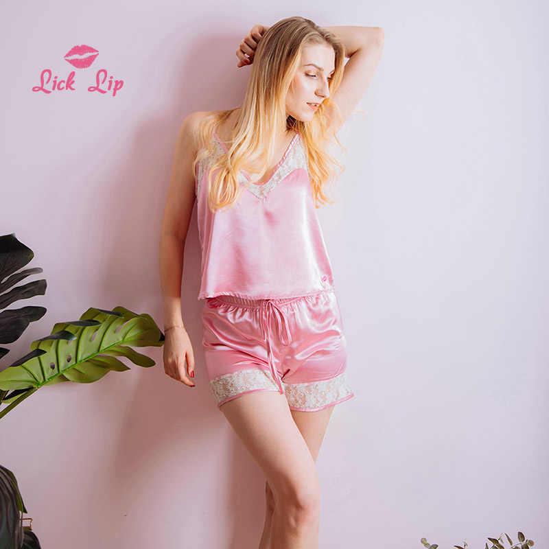 69f269d0e20 Lick Lip Pink Sexy Stitch Pyjama Mujer Femme Women Lace Patchwork Sleepwear  Ladies Satin Shorts Pajama