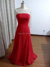 Echt Kristall Langarm Prom Kleider 2016 Vestido Longo Scoop Neck Sexy Women Red Chiffon Langen Abendgesellschaft Kleider Formale