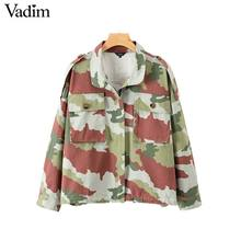 7571a3a7c9fef Vadim vintage camouflage print loose jacket oversized army style long  sleeve casual