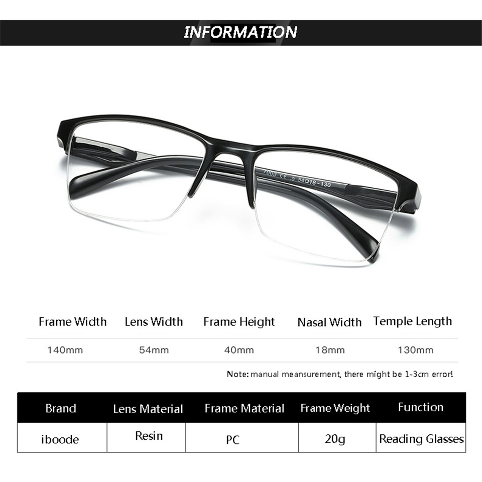 HTB1A97CKFzqK1RjSZFCq6zbxVXa1 - iboode Half Frame Reading Glasses Presbyopic Eyewear Male Female Far sight Glasses Ultra Light Black with strength +75 to +400