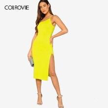 8688bb6e16 COLROVIE amarillo neón dividida de un hombro Sexy Cami vestido de verano de  las mujeres sin
