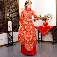 Red Bride Wedding Qipao Traditional Chinese Dress Women Cheongsam Modern Vestido Oriental Style Dresses Robe Long Qi Pao
