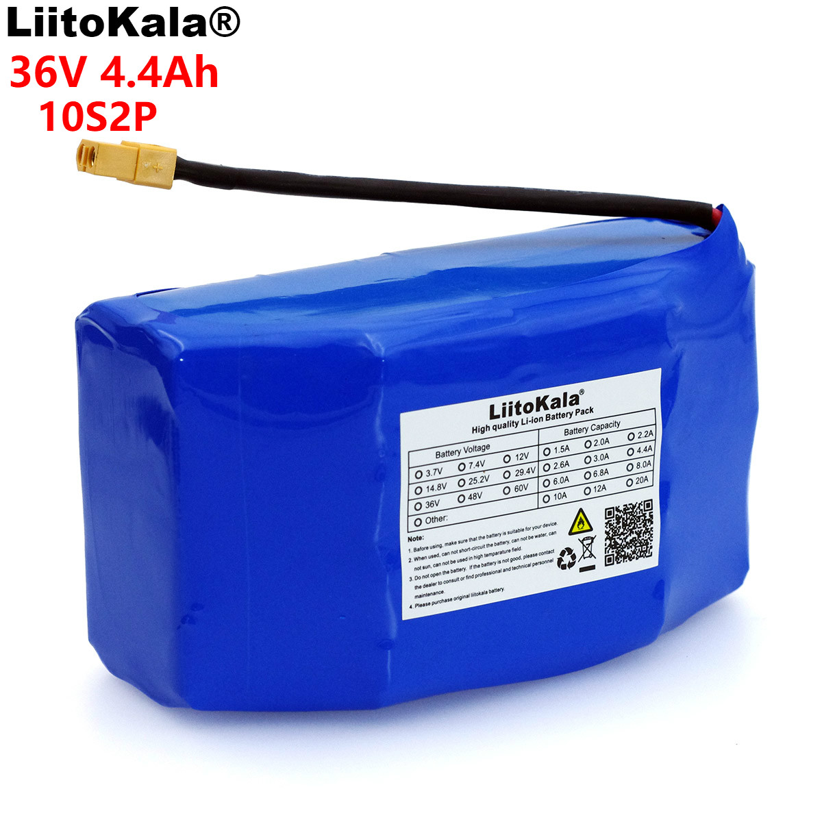 LiitoKala 36V 4 4Ah 4400mah high drain 2 wheel electric scooter self balancing 18650 li ion