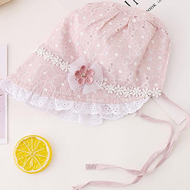 Baby Girls Soft Summer Bucket Hat Bow and Tie Ups Newborn to 6 Months Ivory