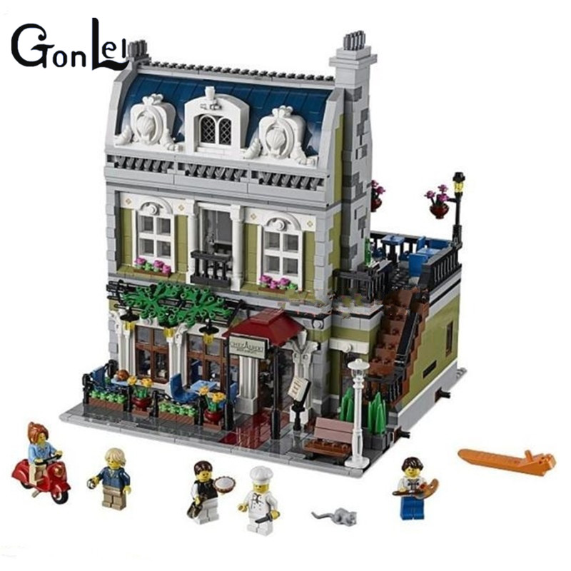 (GonLeI) 2418PCS DHL 15010 Creator Expert City Street Parisian Restaurant Model Building Kits Block Toy Compatible 10243 new lepin 15010 expert city street parisian restaurant model building kits blocks funny children toys compatible with 10243 gift