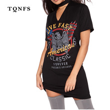 TQNFS 2017 Eagle Print Casual Summer Dress Short Sleeve Halter Women's Sexy T Shirt Dress Plus Size Dresses Mini Dress Robe