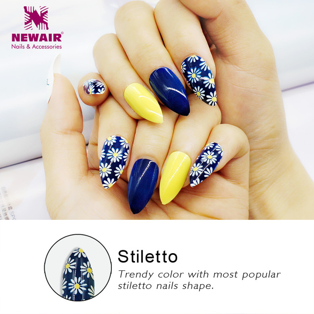 Stiletto Nails Full Cover False Nails with Glue Acrylic Nail Tips UV  Long Artificial Fake Nails Fuax Ongles