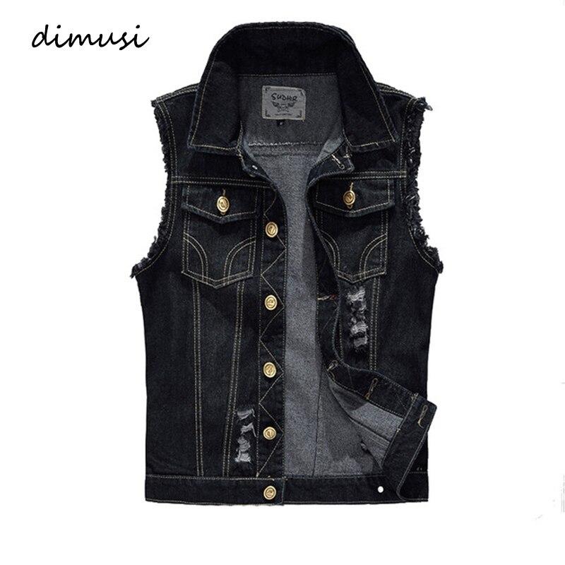 DIMUSI New Spring Autumn Vintage Design Men's Denim Vest Male Black Sleeveless Jackets Men Hole Jeans Brand Waistcoat 6XL,YA566