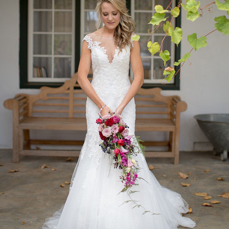 See Through Wedding Gown: Latest Design Vintage See Through Wedding Dress Appliqued