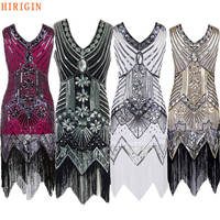 HIRIGIN High Quality 2018 New Flapper Dress Great Gatsby Party Sequins V Neck Women S Sexy