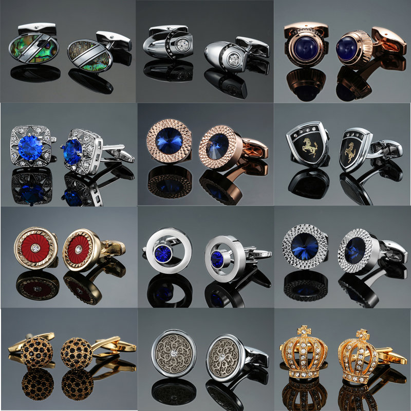 DY New High-end Luxury Jewelry Brand Blue Crystal Rose Gold Big Crystal Cufflinks Men's French Shirt Cufflinks Free Shipping