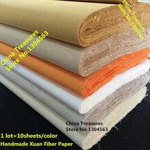 10 แผ่น/ล็อต, 4 ฟุตกระดาษข้าวจีนจิตรกรรมจีนกระดาษ Handmade เส้นใย Xuan กระดาษ Yunlong Pi Zhi กระดาษหม่อน