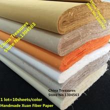 10 levha/lot, 4 ayak çin pirinç kağıdı kaligrafi çin resim sanatı kağıt el yapımı Fiber Xuan kağıt Yunlong Pi Zhi dut kağıdı