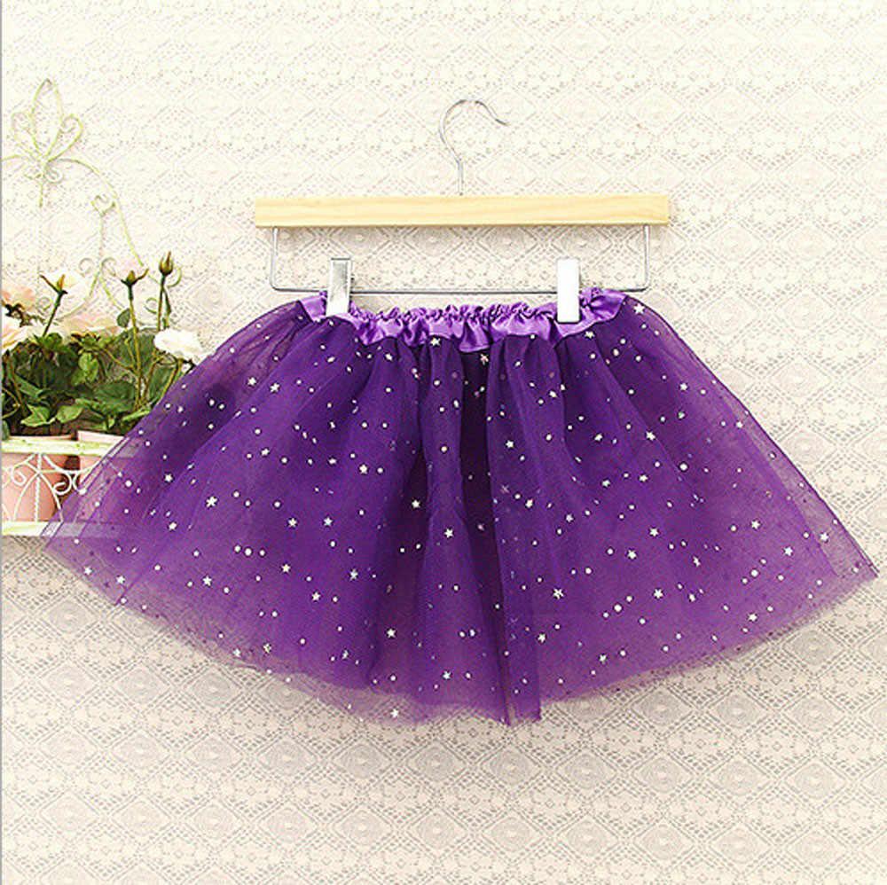 Kids Baby Star Glitter Dance Tutu Skirt For Girl Sequin 3 Layers Tulle Toddler Pettiskirt Children Chiffon