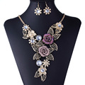 Star Jewelry 2014 Good Quality Gold Colorful Flower Crystal Hollow Necklace and Earrings Jewelry Set Christmas Gift 100