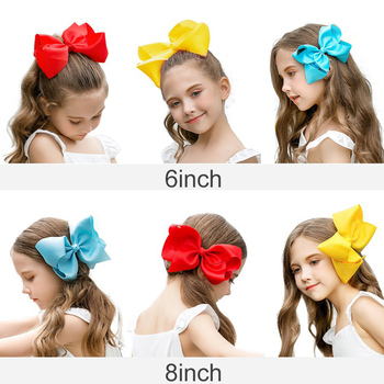 3/4/6/8inch Boutique Handmade Colorful Solid Ribbon Grosgrain Hair Bow With Clips For Kids Girls Hair Accessories 4