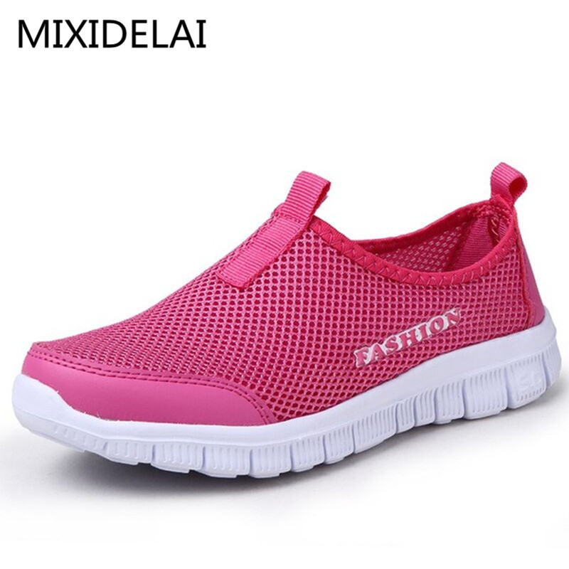 New Women Casual Shoes New Arrival Breathable Women's Fashion Air Mesh Summer Shoes Female Slip-on Plus Size 34-46 Shoes mwy women breathable casual shoes new women s soft soles flat shoes fashion air mesh summer shoes female tenis feminino sneakers