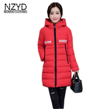 2017 Winter Women Jacket New Fashion Thick Warm Medium long Down Cotton Coat Long sleeve Slim Big yards Female Parkas LADIES269