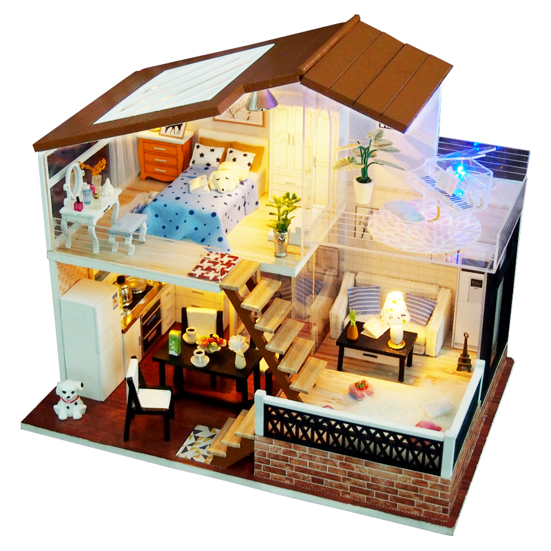 Miniature Piano Doll Houses DIY Wooden Doll House Miniaturas dollhouse Furniture Kit Toys for Children Birthday Christmas Gifts недорого