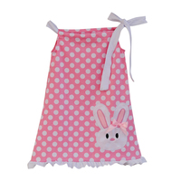 Unique Design Lovely Pink Baby Girl Dress Polka Dot Pattern Bunnie Sticker Ruffle Edge Lacing Straight