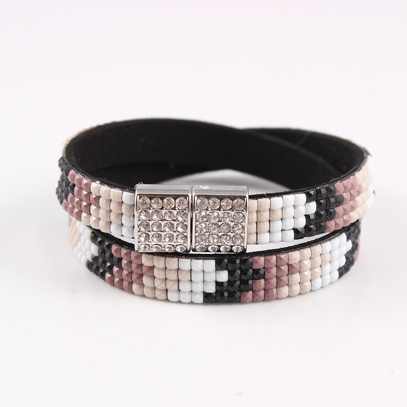 2017 Summer Jewelry Magnetic Buckle Multilayer Leather Wide Bracelet Full Crystal Cape Bracelets&Bangles For Women Gifts