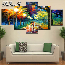 FULLCANG 5 piece diy diamond painting rainy night landscape full square/round drill mosaic embroidery multi-picture kit FC705