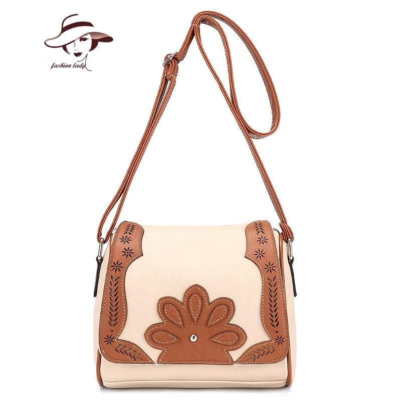 2018 New Hollow Out Panelled Women Bag Ladies PU Leather Purse Handbag Women Crossbody Satchel Bag Long Strap Bolsa Feminina