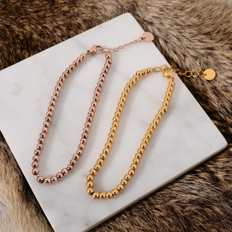 YUN RUO Fashion Gold Beads Bracelet Woman Chain Rose Silver Color Fashion Stainless Steel Jewelry Gift Never Fade Free Shipping