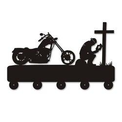 Biker modląc się na krzyż motocykl hak ścienny na torba na ubrania brelok kreatywny wieszak motocyklista motocyklista w Osuszacze od Dom i ogród na