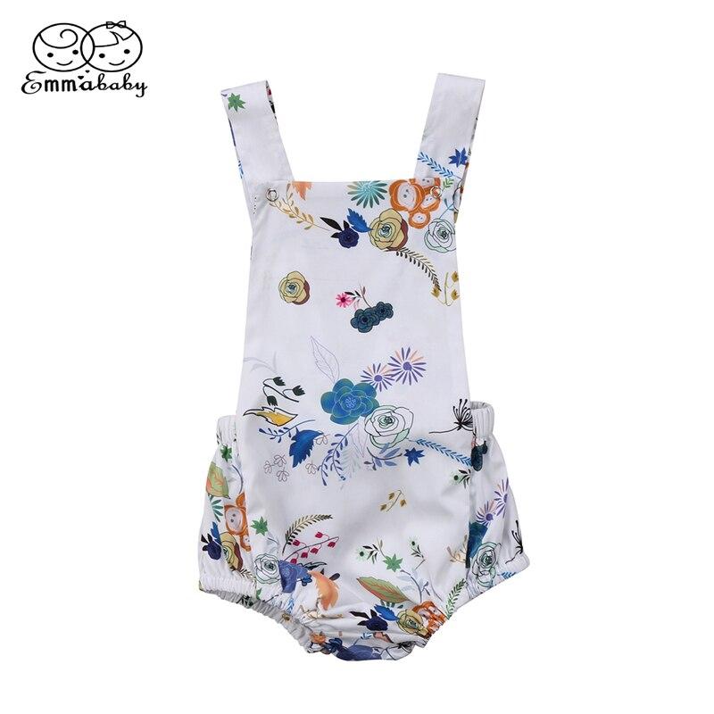 Lovely Newborn Baby Girls Clothing Summer Infant Girls Floral Romper 2018 Newest Bebes Jumpsuit Outfits Bare Back Romper Sunsuit