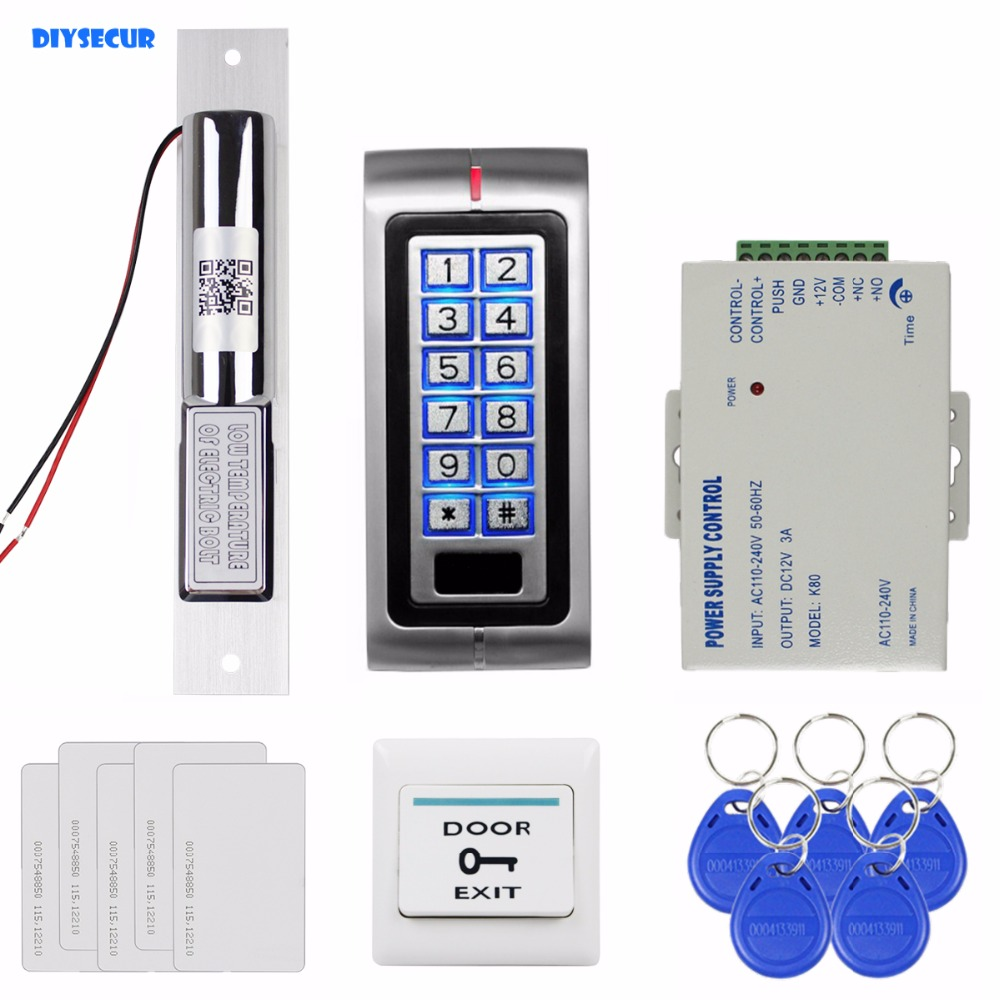 DIYSECUR Electric Bolt Lock 125KHz RFID Password Keypad Access Control System Security Kit + Exit Button K2 diysecur 280kg magnetic lock 125khz rfid password keypad access control system security kit exit button k2