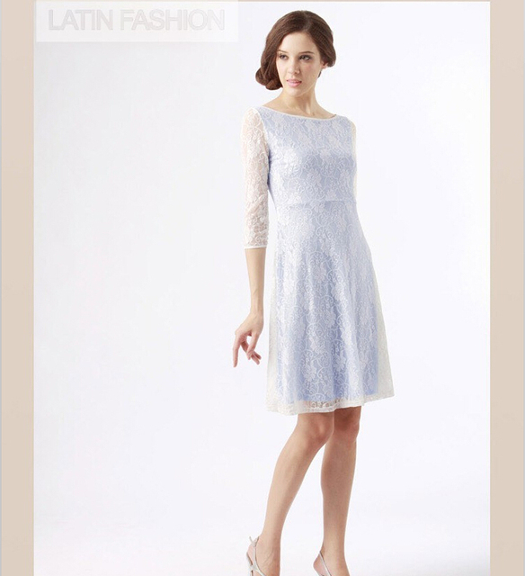 White lace over blue dress