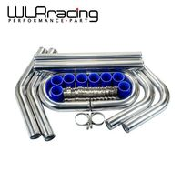 WLR 2.25 57mm TURBO INTERCOOLER PIPE 2.25 L=600MM CHROME ALUMINUM PIPING PIPE TUBE + T CLAMP + SILICONE HOSES BLUE WLR1717