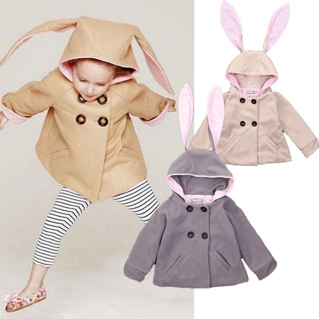 Primavera/Otoño de los Bebés Lindo Conejo Ropa de Abrigo Chaqueta de Los Bebés de La Muchacha Con Capucha Trench Coat Outwear Edad